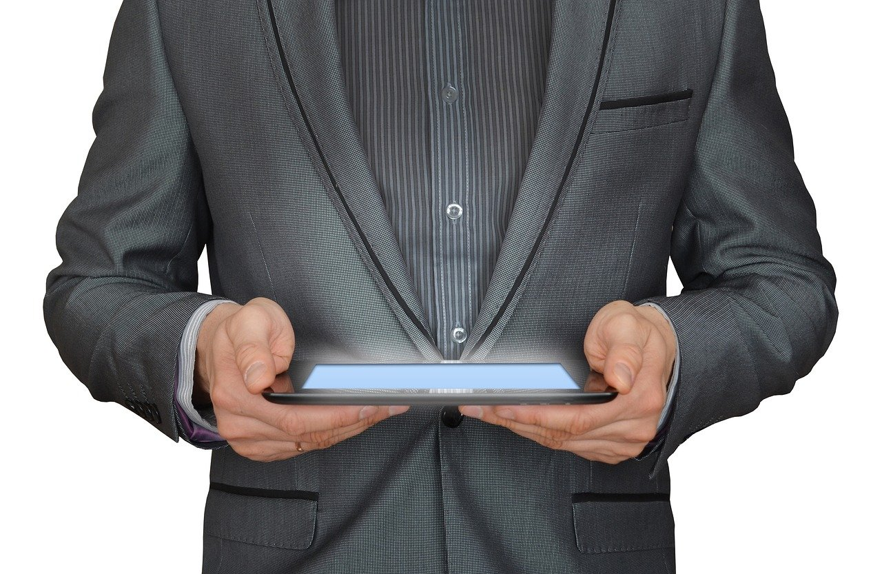 man, businessman, tablet computer